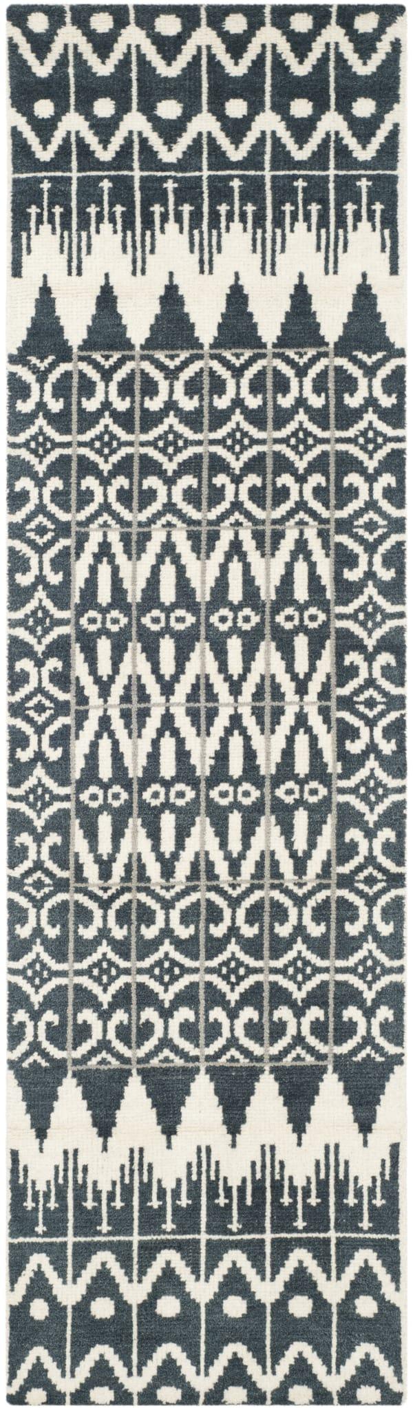 Black Wool Rug 2.5' x 9'