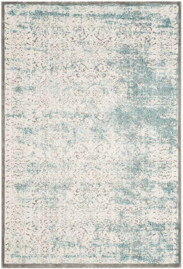 Jennifer 401 3' X 5' Turquoise Polypropylene Rug