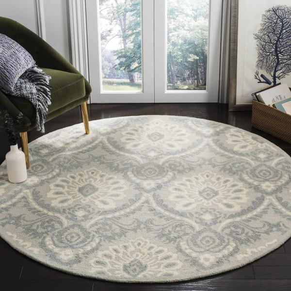 Morgan 106 6' X 6' Round Gray Wool Rug