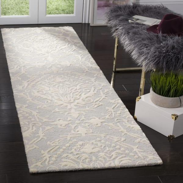 Gray Wool Rug 2.5' x 9'