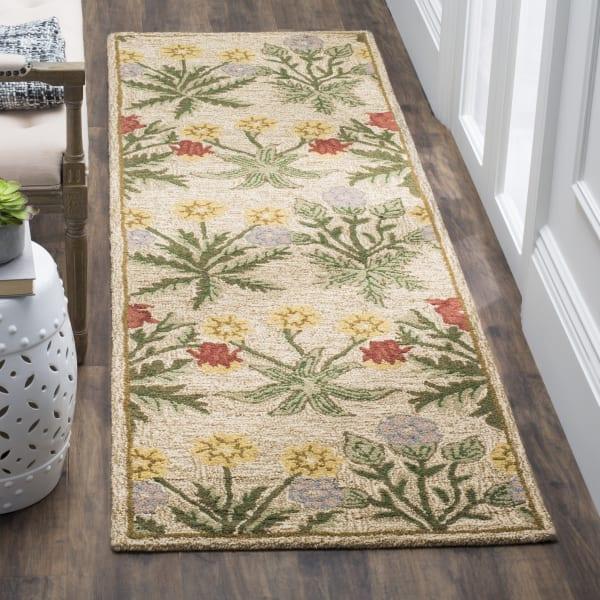 Tan Wool Rug 2.5' x 9'
