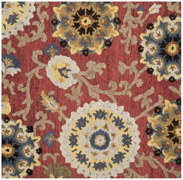 Morgan 401 6' X 6' Square Red Wool Rug