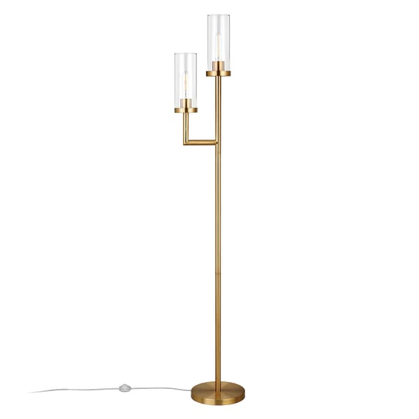 Brass Floor Lamp with Double Torchiere and Glass Shade