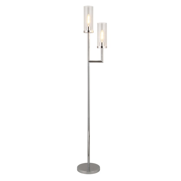 Nickel Floor Lamp with Double Torchiere and Glass Shade