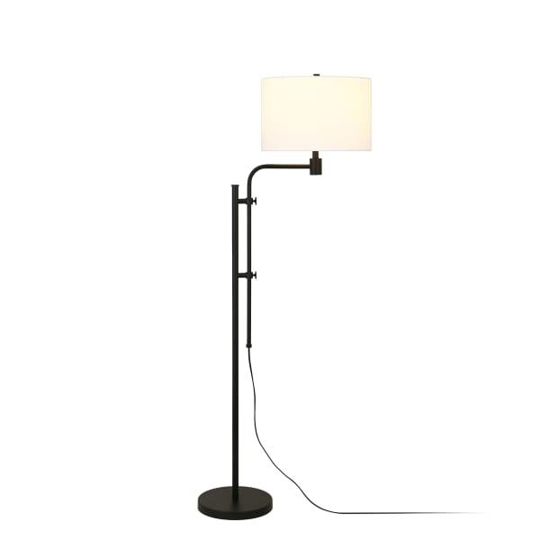 Height-Adjustable Blackened Bronze Floor Lamp