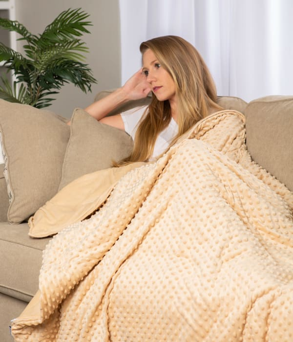 60x80 Taupe Minky Dot Sensor Weight Blanket Cover