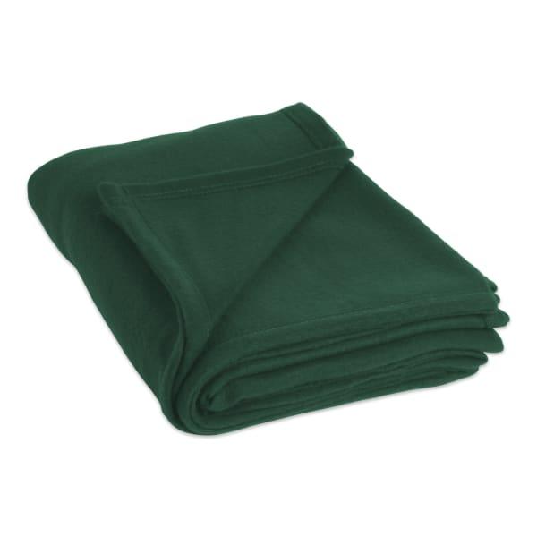 J&M Dark Green Fleece Blanket King 108x90