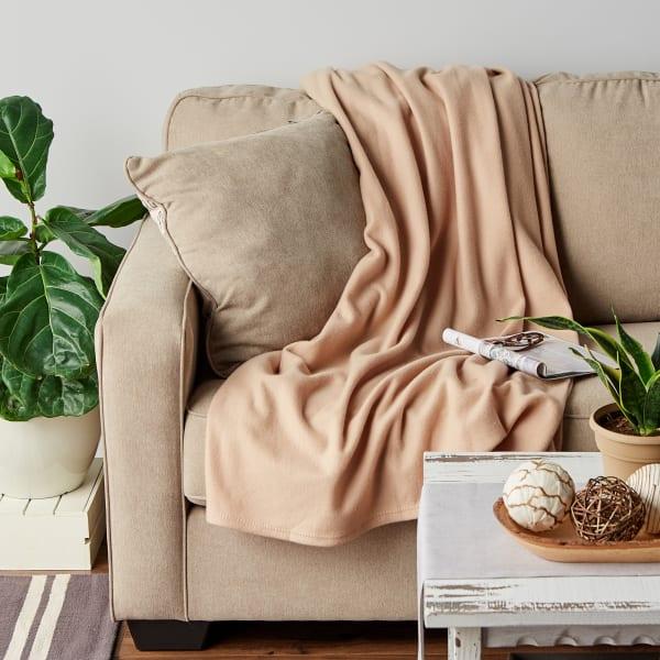 J&M Tan Fleece Blanket Twin/Twin XL 60x96