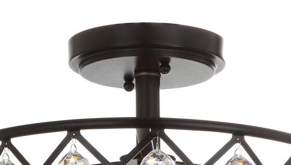 Crystal/Metal LED Semi-Flush Mount, Oil Rubbed Bronze