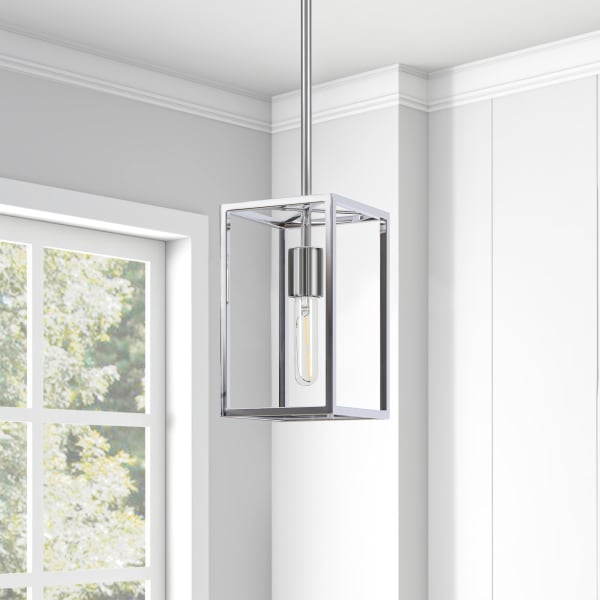 Cuadra Square Framed Pendant in Nickel