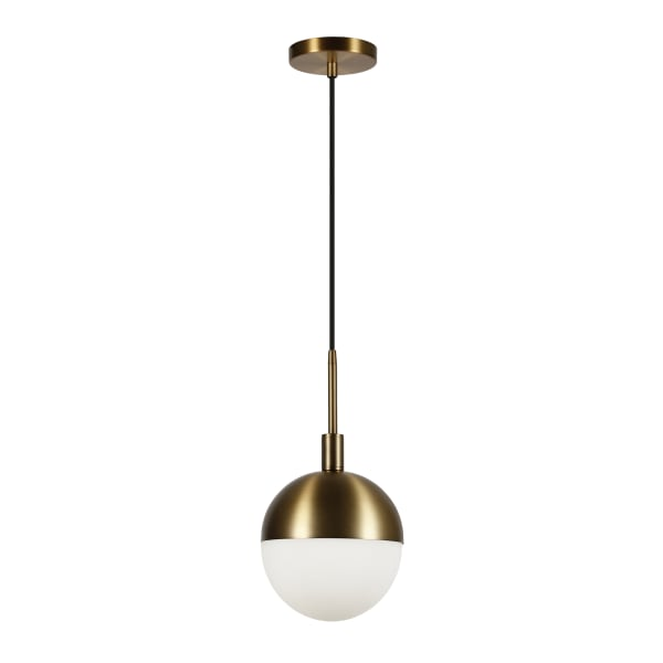 Orb Small Globe Brass and Frosted Glass Pendant