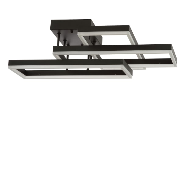 Geometric Integrated LED Metal Flush Mount, Black