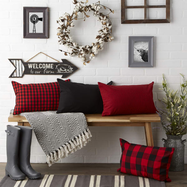 Assorted Red/Black Pillow Cover 12x20 Set/4