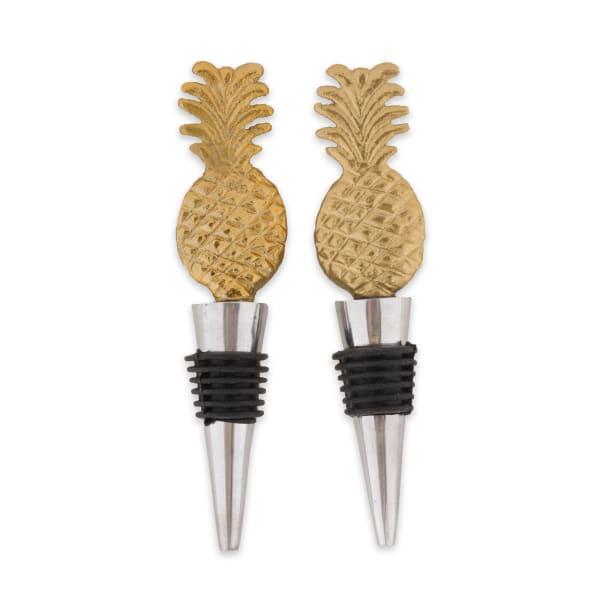 Gold Pineapple Bottle Stopper (Set of 2)