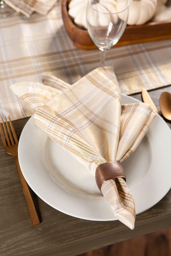 Cream Metallic Plaid Napkin (Set of 6)