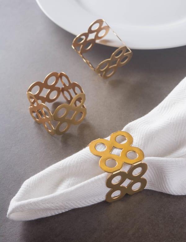 Gold Square Die Cut Napkin Ring (Set of 6)