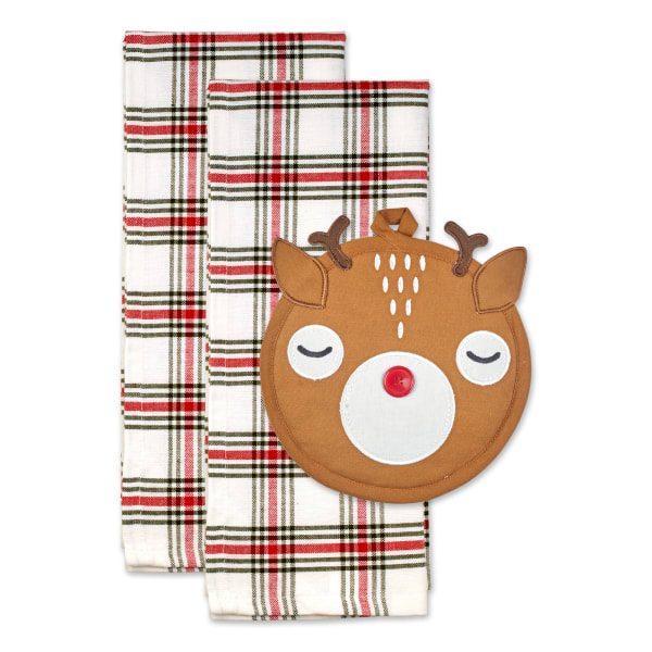 Holiday Potholder Gift Set Cute and Functional, Perfect for Family, Hostess Gifts, Teachers, Friends and Neighbors, Rudy Reindeer, 3 Piece