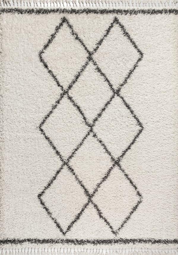 Mercer Shag Plush Tassel Moroccan Tribal Geometric Trellis Cream/Grey 8 ft. x 10 ft. Area Rug