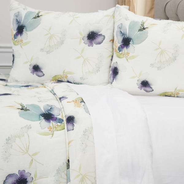 White 100% Cotton Watercolor Floral 90