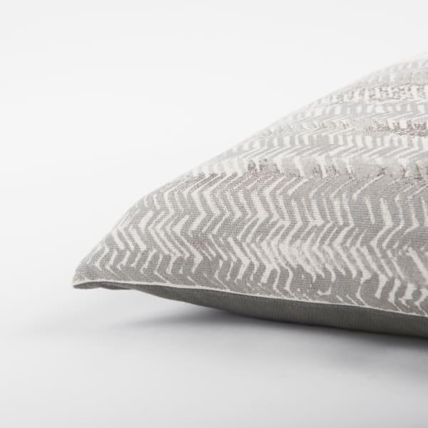 Chevron Printed Metallic Silver Pillow Cover
