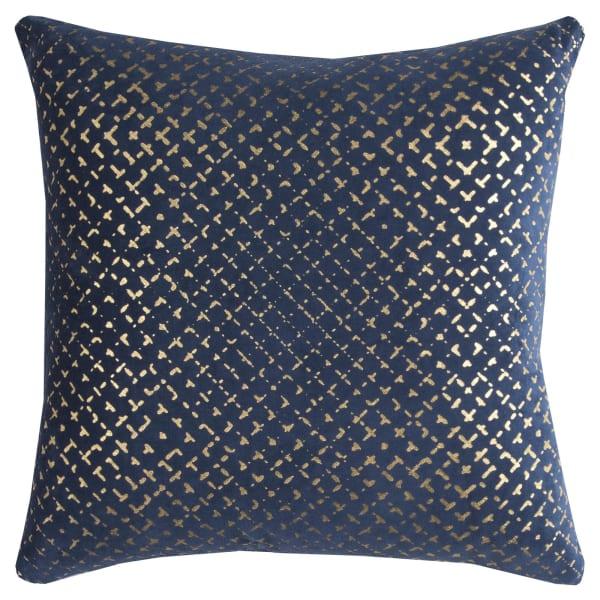 Geometric Gold Foil Navy Pillow Cover