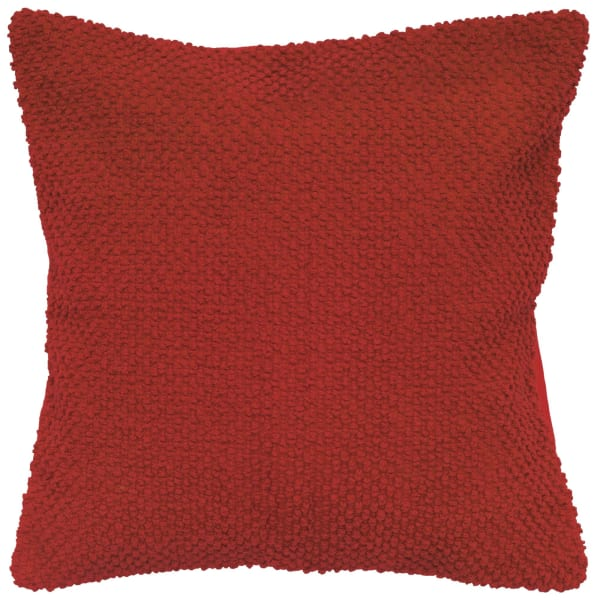 Nubby Woven Solid Red Pillow Cover
