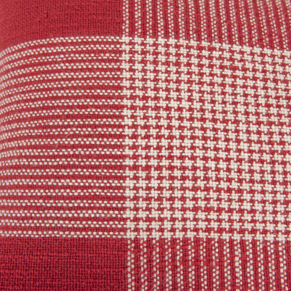 Plaid Woven Red/White Pillow Cover
