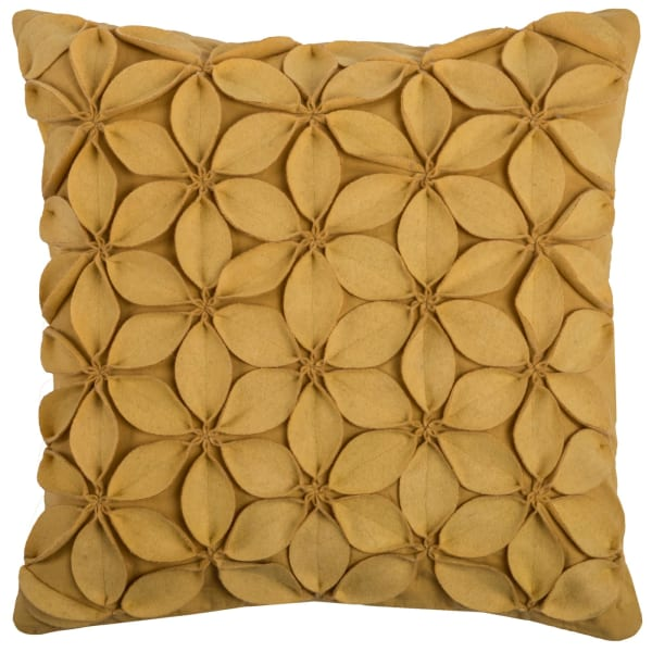 Solid Botanical Petals Yellow Pillow Cover