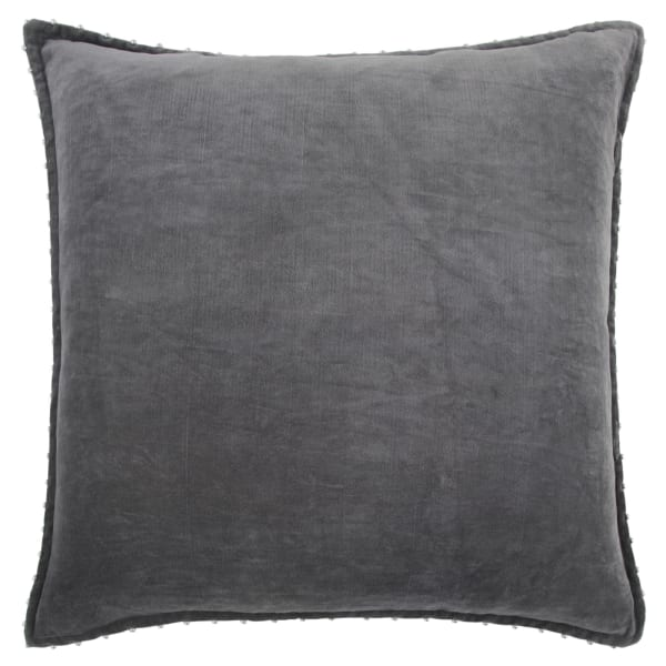 Solid With Beaded Edge Dark Gray Poly Filled Pillow