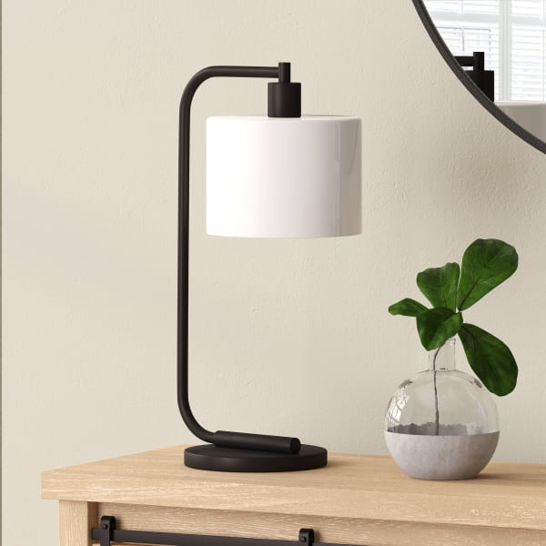 Bronze Table Lamp with Milk Glass Shade