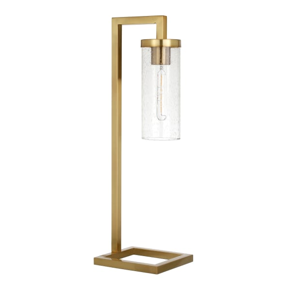 Two Tone Matte Black and Nickel Table Lamp