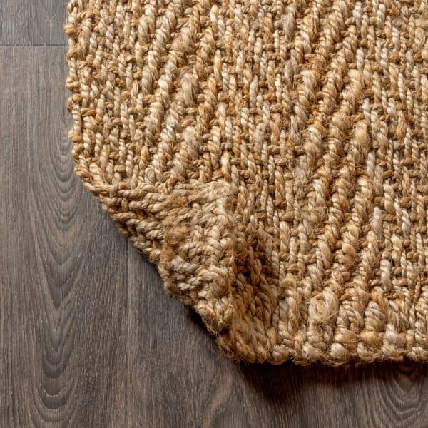 Hand Woven Herringbone Chunky Jute Natural Area Rug
