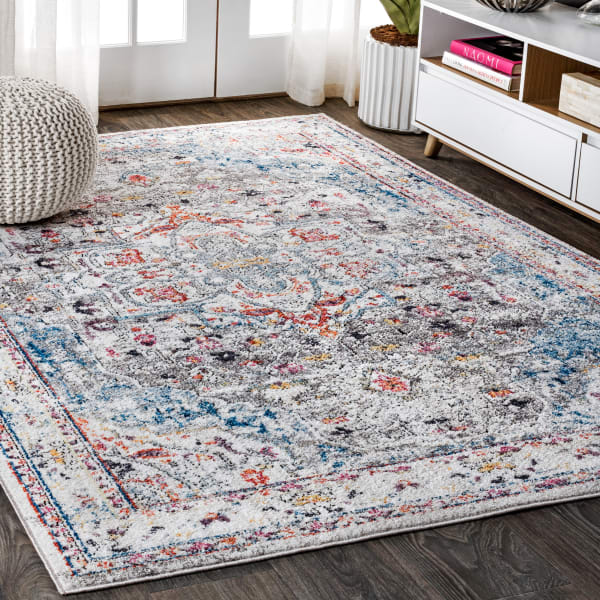 Maras Vintage Medallion Gray/Red/Turquoise 8 ft. x 10 ft. Area Rug