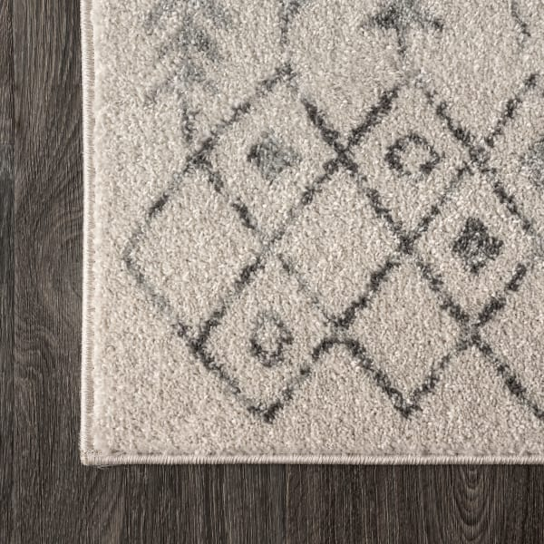 Ziri Moroccan Geometric Cream/Gray 4 ft. x 6 ft. Area Rug