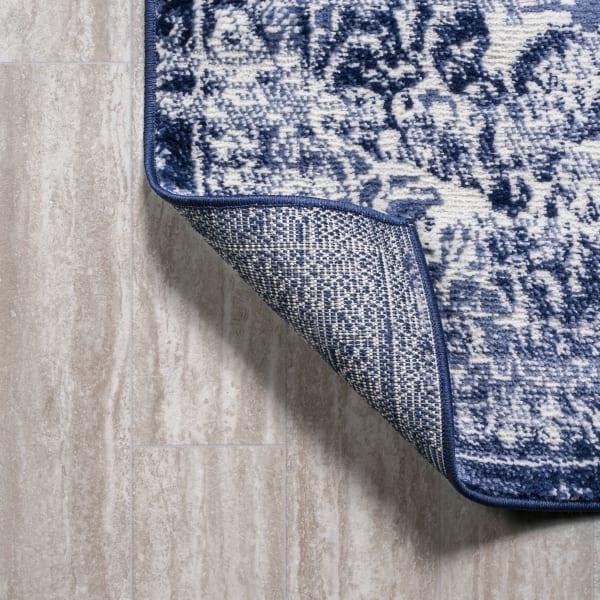 Alhambra Ornate Medallion Modern Navy/Ivory Area Rug