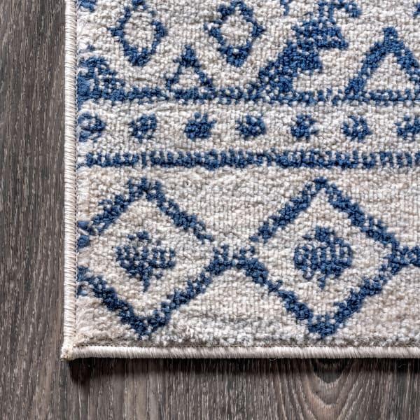 Moroccan HYPE Boho Vintage Tribal Cream/Blue Area Rug