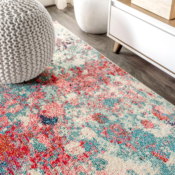 Contemporary POP Modern Abstract Blue/Red Runner Rug