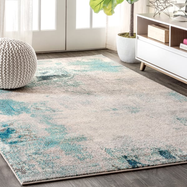 Contemporary POP Modern Abstract Vintage Cream/Blue 3 ft. x 5 ft. Area Rug