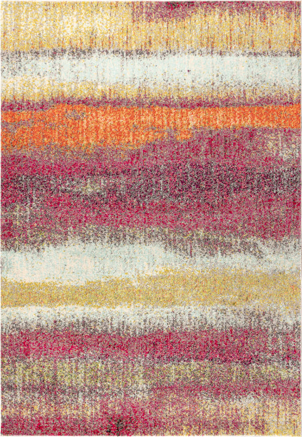 Contemporary POP Modern Abstract Vintage Cream/Pink Area Rug