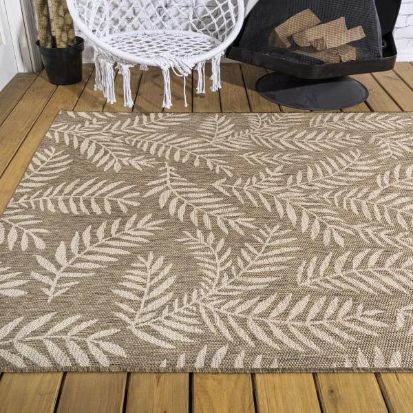 Nevis Palm Frond Indoor/Outdoor Brown/Beige 8 ft. x 10 ft. Area Rug