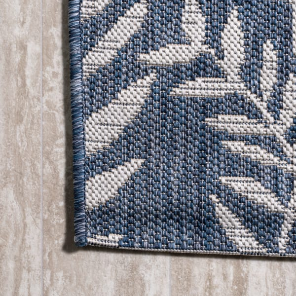 Nevis Palm Frond Indoor/Outdoor Navy/Ivory 8 ft. x 10 ft. Area Rug