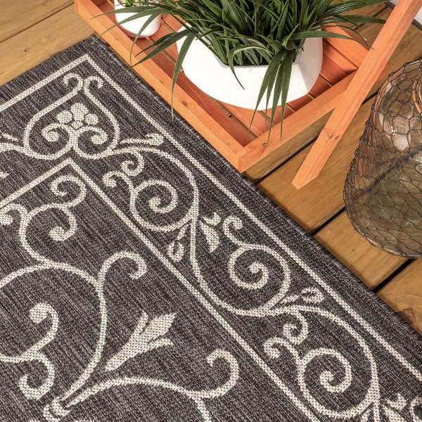 Charleston Vintage Filigree Textured Weave Indoor/Outdoor Black/Gray 2 ft. x 8 ft. Runner Rug