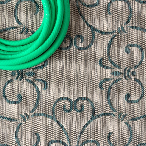 Vintage Filigree Textured Weave Indoor/Outdoor Gray/Teal Area Rug