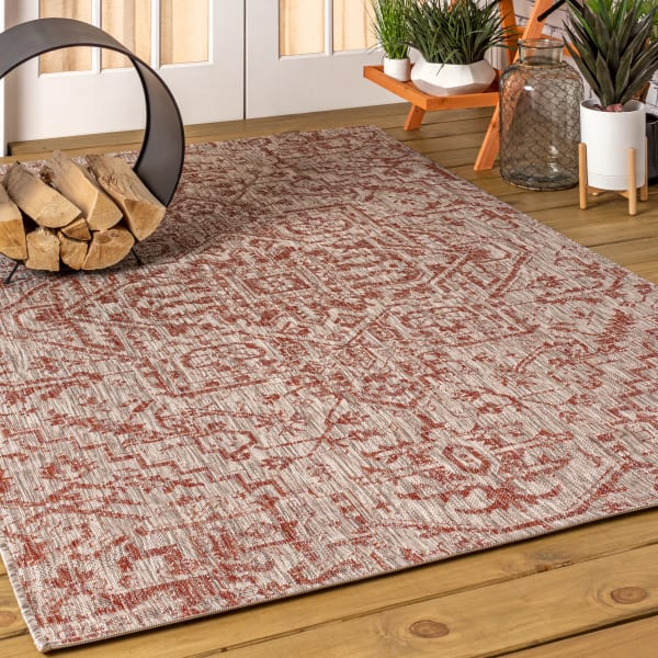 Estrella Bohemian Medallion Textured Weave Indoor/Outdoor Red/Taupe 3 ft. x 5 ft. Area Rug