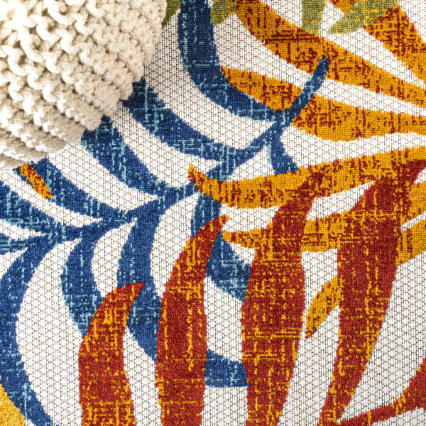 Tropics Palm Leaves Indoor/Outdoor Cream/Orange 2 ft. x 8 ft. Runner Rug