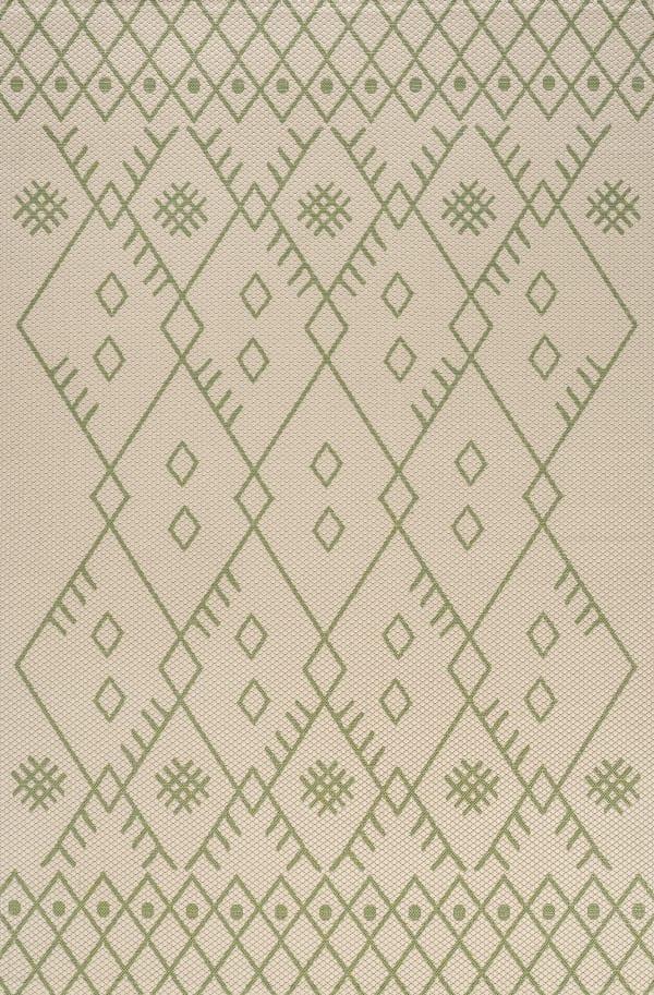 Boho Moroccan Indoor/Outdoor Beige/Green 3 ft. x 5 ft. Area Rug