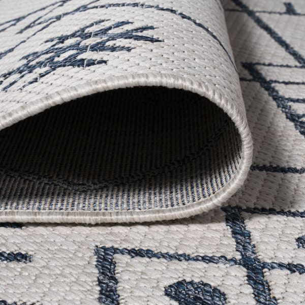 Moroccan Indoor/Outdoor Ivory/Navy Runner Rug