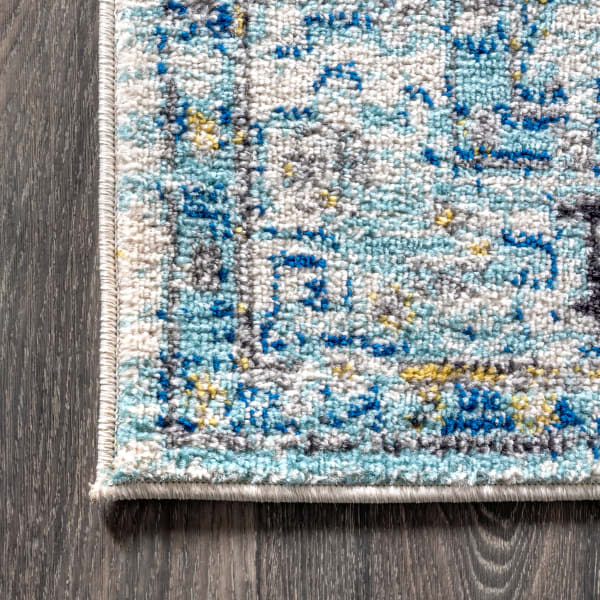 Modern Persian Boho Vintage Medallion Cream/Blue Runner Rug