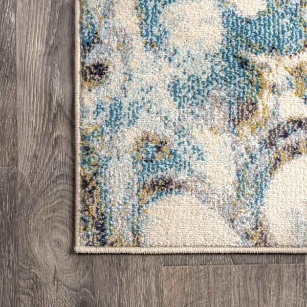 Pebble Blue & Beige Marbled Abstract Blue/Beige 2 ft. x 8 ft. Runner Rug