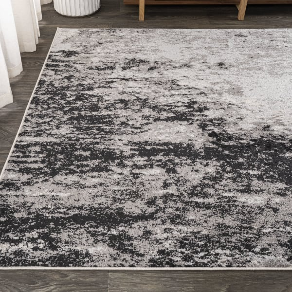 Storm Modern Abstract Gray/Cream Area Rug